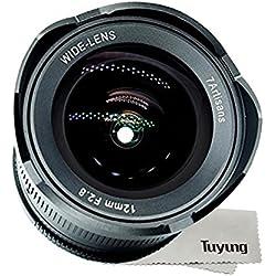 7artisans Objectif ultra-grand-angle 12mm F2.8 APS-C pour appareils photo à montage M4 / 3 Panasonic et Olympus - Objectif à mise au point manuelle et kit de nettoyage TUYUNG