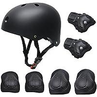 Kid Ensemble de équipement de protection pour skateboard, Roller Skating BMX Scooter Cyclisme équipement de protection Coussinets (Genouillères + Coudières + Coudières + Casque)