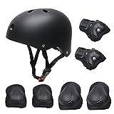 Ensemble de vitesse de protection pour enfants, Roller Skate Skateboard BMX Scooter Cycling Pads de protection (genouillères + coudières + poignet Pads casque) Noir