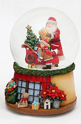 Bella palla di vetro con neve e scatola musicale, disegno: babbo natale con bambino, circa 14,5 x 11 cm/ Ø 10 cm