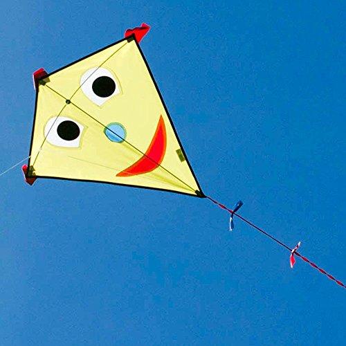Kinderdrachen - Happy Eddy YELLOW - Einleiner für Kinder ab 3 Jahren - Abmessung: 67x70cm - inkl. 80m Drachenschnur und Schleifenschwanz