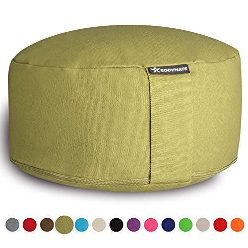 BODYMATE Yogakissen rund 31cm Durchmesser 13cm hoch Olive Green mit Buchweizen-Spelz Füllung - Maschinenwaschbarer Bezug aus 100% extra Dicker Baumwolle - Meditationskissen - Sitzkissen