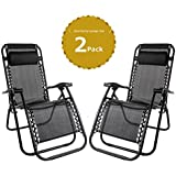 Leisure Zone® Zero Gravity Chaise pliante inclinable Chaise Lounge inclinable de jardin Patio meubles Chaise de camping Textoline Chaise longue... Double noir