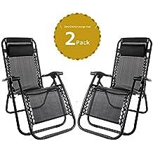 (BTM) Set de 2tumbonas Textoline tumbona plegable Outsunny con almohada resistente a la intemperie reclinable reposabrazos silla de camping relajarse al aire libre sillón reclinable ajustable, negro