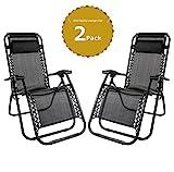 Leisure zone® Zero Gravity Sedia pieghevole, sedia reclinabile, sedia reclinabile da campeggio, lounge, giardino, terrazza, sedia a sdraio in textilene