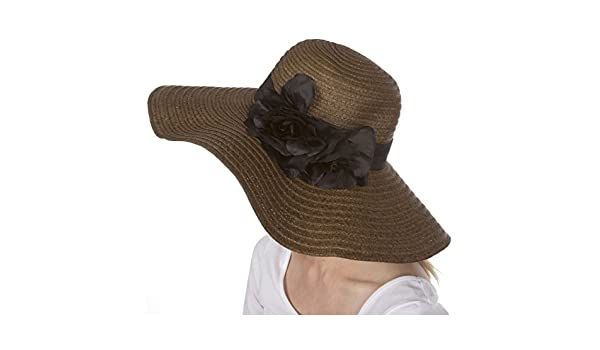 1a7cf7019cf9a Sakkas 6641LF Daisy UPF 50+ 100% Paper Straw Flower Accent Wide Brim Floppy  Hat - Brown - One Size: Amazon.in: Clothing & Accessories