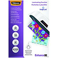 Fellowes 53061 - Pack de 100 fundas para plastificar, brillo, formato A4, 80 micras