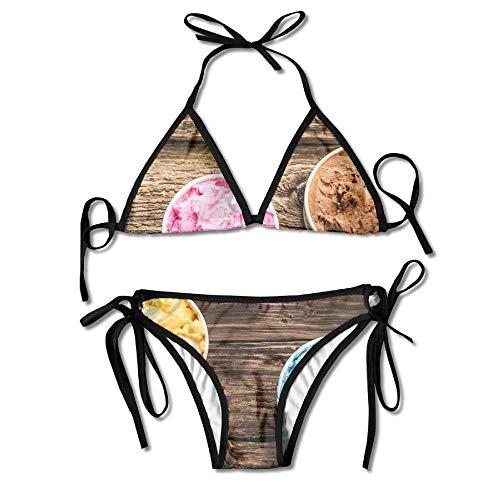 Ice Cream Women's Sexy Bikini Set Swimsuit Bathing Suit Triangle Swimwear - Sexy Ice Cream