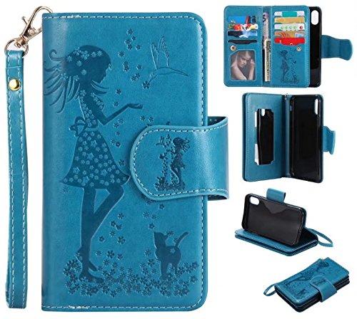 EKINHUI Case Cover Retro Art prägte feenhafte Mädchen-Faux-Leder-Kasten-Abdeckung mit großen Kapazitäts-9 Karten-Schlitzen und Lanyard für iPhone X ( Color : Blue ) Blue