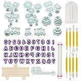 Aoafun 88pcs Fondant Sugarcraft Cake decoración de los cortadores de émbolo Icing Modelado Kit de herramientas con pin Rolling, Smoother, Embosser Mold Mold herramientas