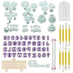 Idea Regalo - Aoafun Torta di Sugarcraft fondente di 88pcs che decorano il corredo di attrezzo di modellazione di denti di taglio del rullo dello stantuffo con il perno di rotolamento, più liscio, gli strumenti del