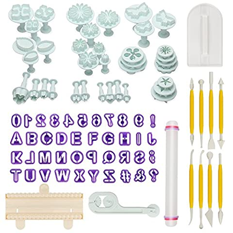 Aoafun 88pcs Fondant Sugarcraft Cake Décoration Plunger Cutters Icing Modeling Tool Kit Set avec Rolling Pin, Smoother, Embosser Mold Mold Tools
