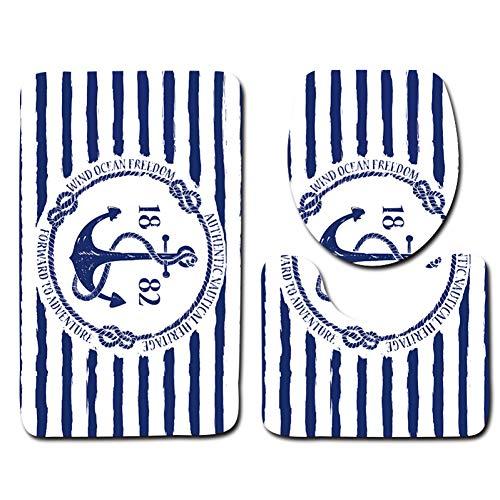 FORNCALO Badematte Toilettenmatte 3 stücke Kunststoff Bad Matte Sets Schaum Bad bodenmatte blau und weiß Streifen Anker Muster Carpet rutschfeste -