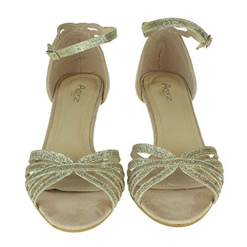 Frau Damen Sparkly Riemen Offener Zeh Zwei teil Kitten-Heel Abend Hochzeit Party Braut Sandalen Schuhe Größe Gold
