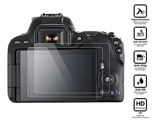 Galleria fotografica BlueBeach® 2 Pezzi HD Pellicola Protettiva Canon EOS 200D DSLR Temperato di Protezione in Vetro Dello Schermo Schermo Protezione (0.3mm 2.5D 9H Durezza)