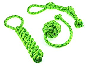 Dog toy set, ideal for playing, raving, working to capacity and cleaning of teeth for small to medium-sized dogs and puppies made of knotted PPM rope, rope+throwing ball+dummy in green/yellow.