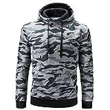 Hooded Sweatshirt Herren Btruely Winter Männer Hoodie Pullover Camouflage Männer Kapuzenpullover Zipper Langarm Outwear (Grau, L)