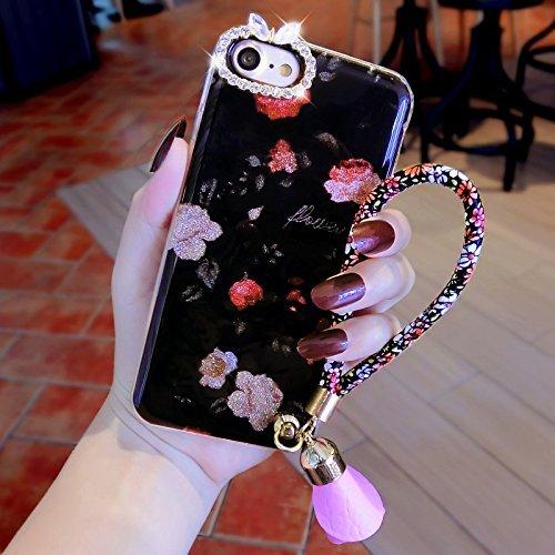 Custodia Cover iPhone 7/8 plus Silicone Morbida,Ukayfe lusso di Bling Colorato Pattern Disegno per iPhone 7/8 plus con Glitter con Strass Diamante, Flexible TPU Gel Ultra Sottile Copertura Skin Housin Fiore di rosa