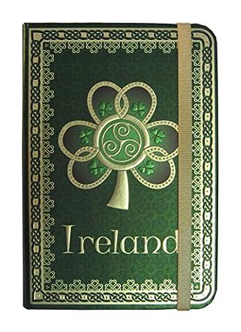 Foliertes Irland-Notizbuch mit Kleeblatt, Spirale und grünem, keltischem Muster