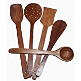 [Sponsored]Craft Kings Cooking Tool Utensils Product Handmade Wooden Serving And Cooking Spoon Kitchen Utensil Set Of 5