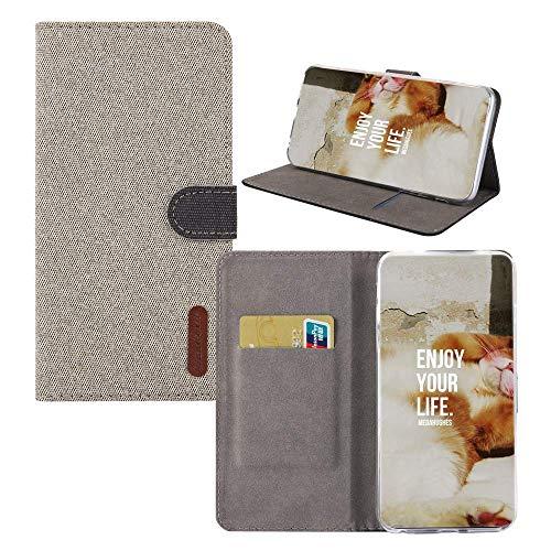 BestCatgift Minimalist Redmi 6 Pro Hülle,[Denim Material][Magnetic Function] PU Leather Wallet Folio Cover Für Xiaomi Redmi 6 Pro/Mi A2 Lite - Light Beige -