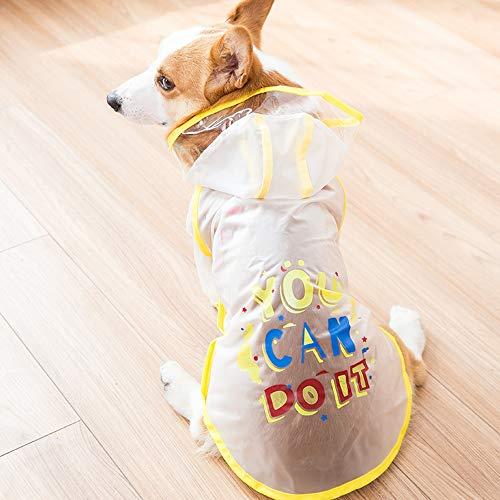 QNMM Regenmantel für Hunde Packbar Wasserdicht Verstellbar mit reflektierenden Trägern Leichte Regenjacke für Waliser-Corgi-Pembroke,White,XL