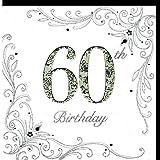 Edle Glückwunschkarte zum 60. Geburtstag von Koko Designs mit Prägung, Folie und Kristallen KK015