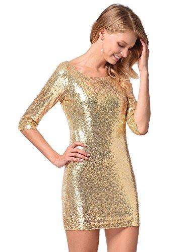 Frauen halbe Hülse Pailletten-Kleid tief V zurück Clubwear Abendkleid Gold S - 3