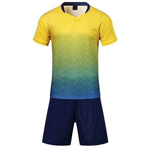 BOZEVON Kinder Jungen Fussball Trikots Eltern-Kind-Ausrüstung von Männer Sports Trainingstrikots Trikot und Hose, Gelb,EU S=Tag M, Erwachsene(157-165CM) -