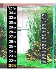 takestop Set 2pièces Thermomètre de précision Sticker Bande de verre Aquarium Marin douce eau Terrarium