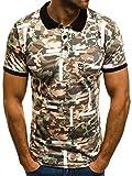 OZONEE Herren Poloshirt mit Motiv Kurzarm Hemd Aufdruck Slim-Fit Polohemd Figurbetont MACH/216/C M