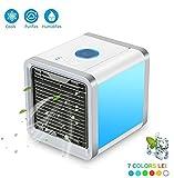 Luftkühler Mini Klimaanlage Ventilator ,USB Klimagerät 4 in 1 Raumluftkühler, Luftbefeuchter, Difusser und Luftreiniger Tragbarer Tischventilator 7 Farben LED Nachtlicht.