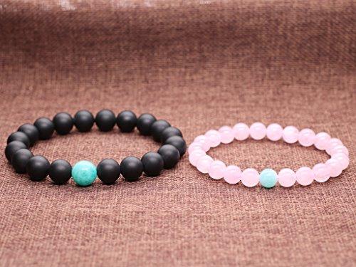 COAI® Rosenquarz Geschliffener Onyx Amazonit ein Paar Partner Armbänder vom Einfachen Stil