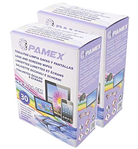PAMEX - Toallitas Húmedas 60 Sobres Unidades Individuales - Limpia Pantallas Cristales Tablets Moviles Gafas Lentes