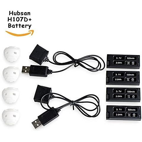 Morpilot ® 4 piezas 520mAh Lipo batería para HUBSAN X4 Cam Plus H107D + H107D + -04 Plus FPV Drone Quadcopter Con 2 Paquete de cargador externo de piezas de
