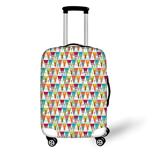 Travel Luggage Cover Suitcase Protector,Indie,Triangles Pattern with Deer Elk Portraits Geometric Colorful Funky Hipster Tile Urban Decorative,Multicolor,for TravelXL 29.9x39.7Inch