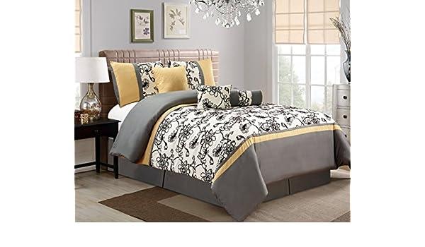 7 Pieces Moderne Tres Jaune Noir Blanc Gris Floral Edredon Bedding