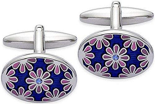Blu / rosa / argento floreale dello smalto Gemelli di Zennor