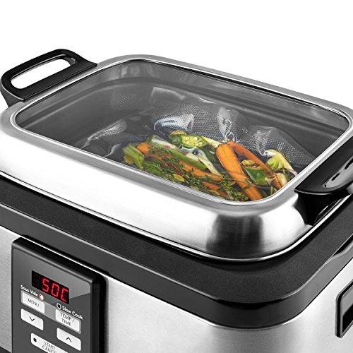 Klarstein Tastemaker Sous Vide Garer + FoodLocker Vakumierer Set (6 Liter Vakuumgarer, 550 Watt, Edelstahl, LED-Display, Vakuumiergerät, 130 Watt, -0,75 Bar, 10 Beutel) silber - 5