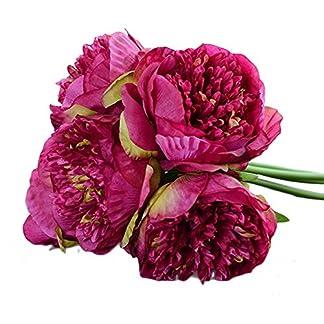 Comaie  – Ramo de peonías artificiales, tacto parecido a la seda, decoración para centro de mesa o jarrones, 5 cabezas de flores, Purple Red