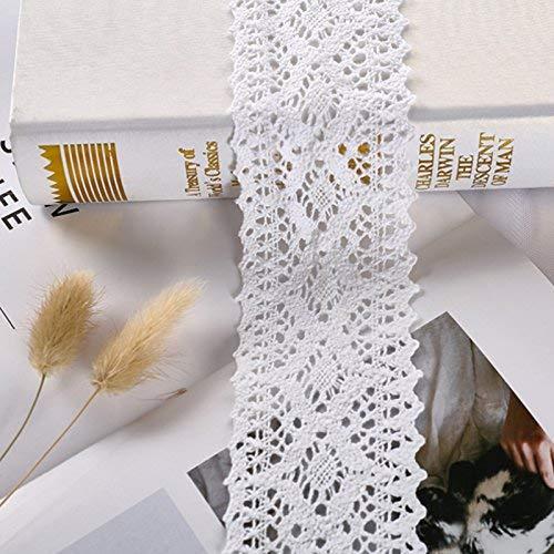 showll 2 Yard Breite 8cm Baumwolle Vintage-Stil Häkelspitze Häkel-Borte Spitzenband Nähen Spitzenborte Spitzenbesatz Weiß DIY - Vintage Vintage 8
