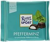 RITTER SPORT Pfefferminz (100 g), Halbbitter-Schokolade mit Pfefferminze gefüllt, besonders erfrischender Geschmack, Pfefferminzschokolade