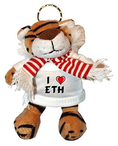 Plüsch Tiger Schlüsselhalter mit T-shirt mit Aufschrift Ich liebe Eth (Vorname/Zuname/Spitzname) -