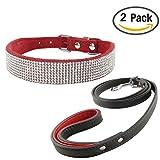 Newtensina Mode Hundehalsband mit Strass und Leine Set Weiches Bling Süßes Kätzchen Halsband Welpen Halsband mit Leine für Hunde Katzen