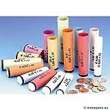 Monepass.eu - Lot de 1040 tubes euro panaché en papier pour mise en rouleau