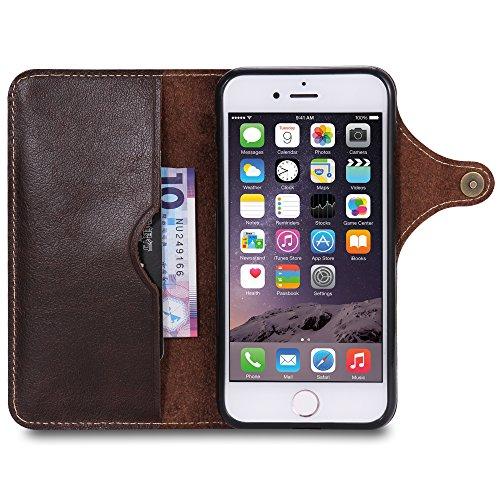 Coque iPhone 8, iPhone 7 cas, AOMO véritable matériel en cuir avec des boutons [porte-cartes] [Vintage Classic Series] [tout autour de la protection] Retro housse de protection en cuir Étui de télépho ZPNPNKnoirmarron