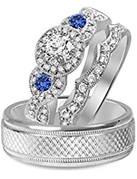 Silvernshine Diamond & Sapphire 14k White Gold GP His & Her Three Stone Wedding Ring Trio Set