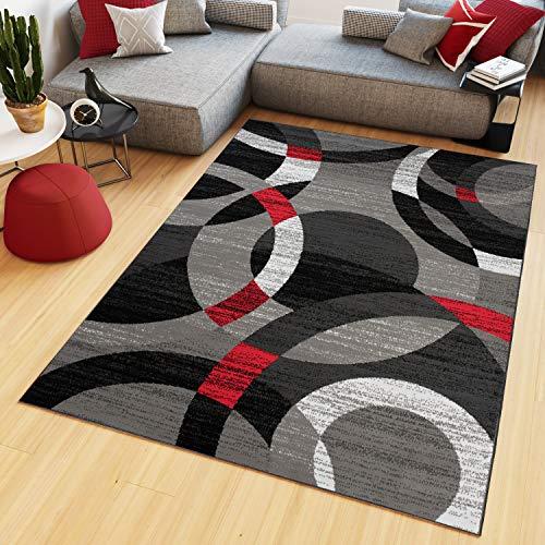 Tapiso maya tappeto salotto moderno soggiorno rosso grigio geometrico astratto a pelo corto 160 x 220 cm