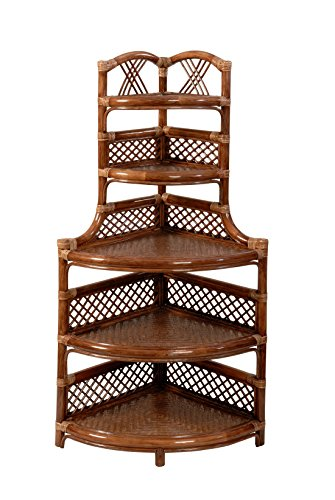 Corner shelf from rattan wicker / shelving unit in brown colour 45 x 45 x 120cm