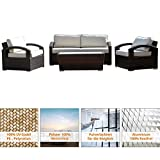 art decor Polyrattan Gartenmöbel Lounge - Lounge Möbel, Lounge Set, Polyrattan Rattan Garnitur, Sitzgruppe - In/Outdoor - Geflochten - mit Kissen - Dunkelbraun meliert